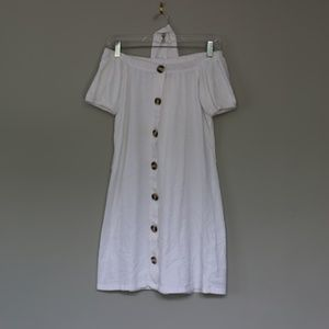 White off the shoulder dress with buttons